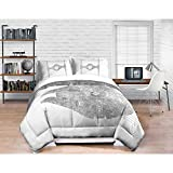 4 Piece Kids White Star Wars Theme Comforter Full Queen, Starwars Millennium Falcon TIE Fighter Bedding, Light Saber Death Star Darth Vader Luke Skywalker Yoda Movie Series Character Plush, Polyester