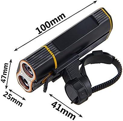 Easycat - Luz de Bicicleta Recargable USB 2400 LM MTB Seguridad Linterna LED Bicicleta Manillar Delantero Luces + Soporte de Montaje Accesorios para Bicicleta, Negro: Amazon.es: Deportes y aire libre