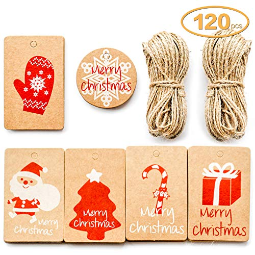 yisi Kraft Paper Tags - 150 Pack Brown Package Name Card Present Wrap Label Stamp for DIY Xmas Holiday and Party Supply 6 Designs with Twine String Tie on Smooth for Writing