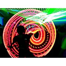 """21 LED Hulahoop hula hoop """"Fire Peach"""" 34"""" OD, 5/8"""" PolyPro tubing, 7oz w/ Charger and rechargeable battery"""