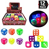Liberty Imports Set of 12 LED Light Up Flashing Bouncy Dice | 6 Sided Large Rubber Toy Dies (1.5 inches, Assorted Colors)