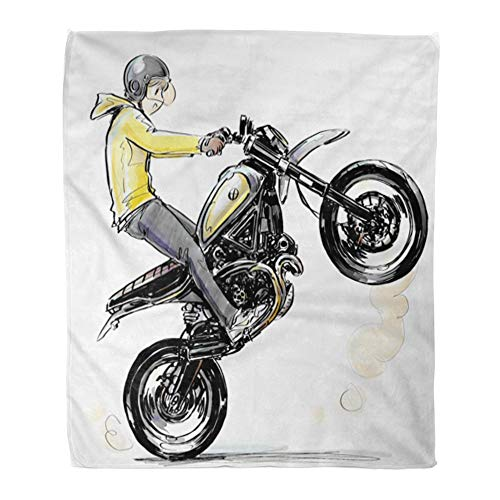 Emvency Throw Blanket Warm Cozy Print Flannel Activity Cool Boy Riding Motorcycle Automotive Bike Comfortable Soft for Bed Sofa and Couch 60x80 Inches
