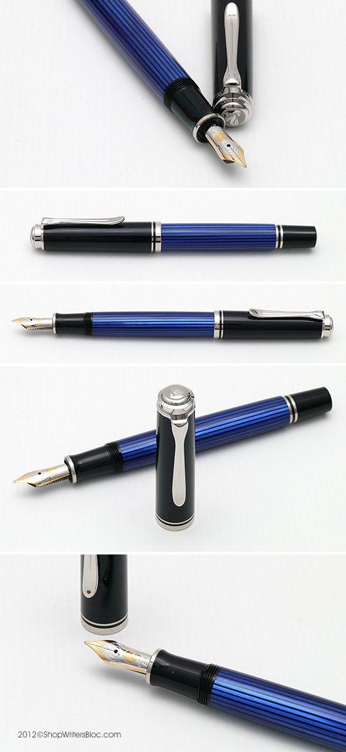 PELIKAN Souveran Fountain Pen Broad, Black/Blue (932780) by Pelikan