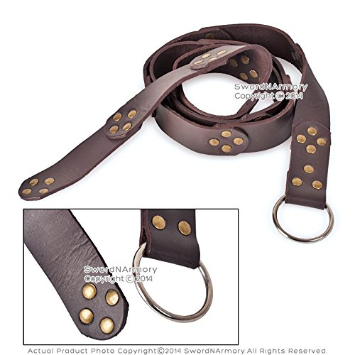Deluxe Adult Costumes - Brown Medieval leather ring steel riveted belt by Medieval Gears