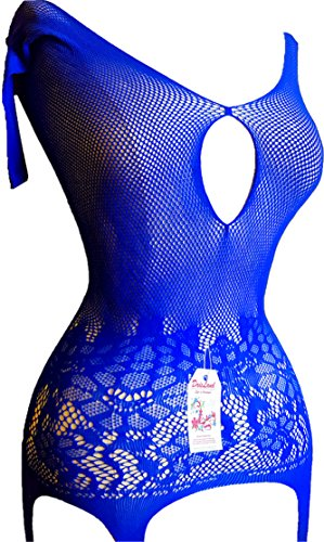 Daisland Women Sexy Lingerie Fishnet Crotchless Bodystocking Bodysuit Hottest (Blue 0161)