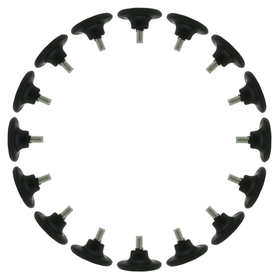 uxcell M8 x 15 x 45mm Screw on Furniture Glide Leveling Feet Floor Protector Adjustable Leveler for Chair Leg 16 Pack