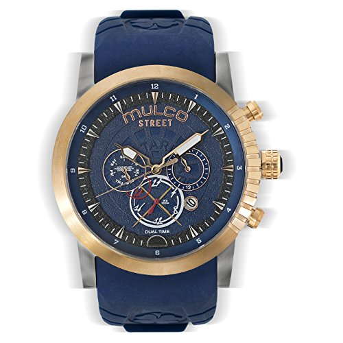 Mulco Street London Men's Watch - Premium Analog Display With Dual Time- Blue 100% Silicone Band - Multifunctional Movement - Water Resistant - All Stainless Steel - MW3-15097-034