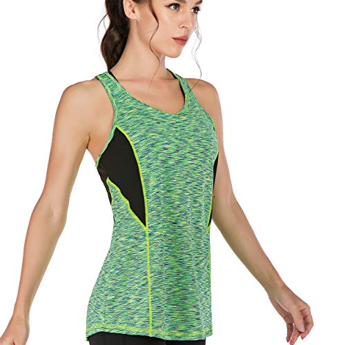 Dry Wick - Women Sleeveless Yoga Top Moisture Wicking Athletic Shirts Quick Dry Fitness Workout Activewear Tennis Tank Top (RB Fluorescent Green, XS)
