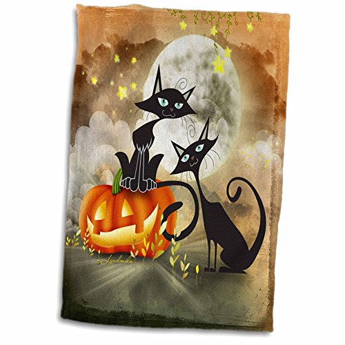 3D Rose Halloween Two Cats is Telling a Scary Story Each Other TWL_201124_1 Towel 15