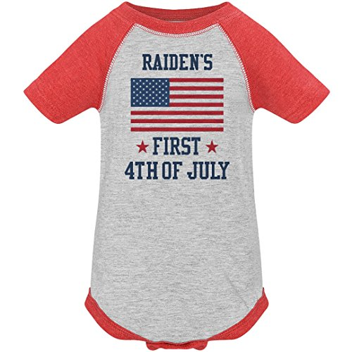 Raiden's First 4th July Outfit: Infant Vintage Raglan Bodysuit