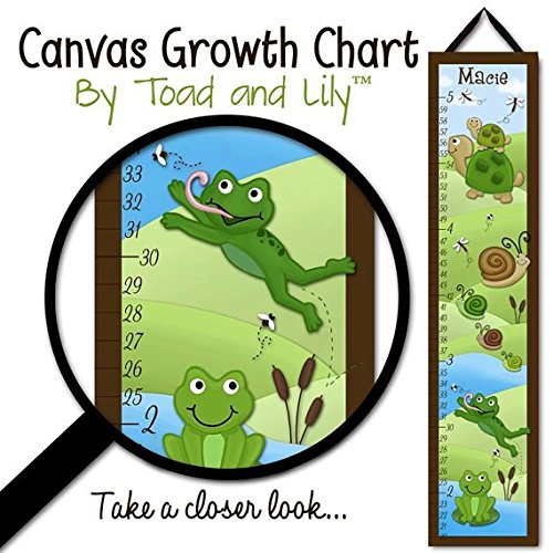 Kids Canvas GROWTH CHART Pond Critters Frog Turtle Snails Froggie Kids Bedroom Baby Nursery Wall Art Growth Chart GC0171 (Pond Critters)