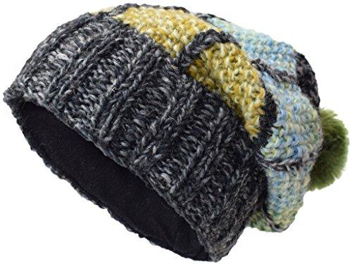 de de forro polar parche Sombreros con N Poco lana de Beanie Katmandú punto multicolor 5qgPwqTX