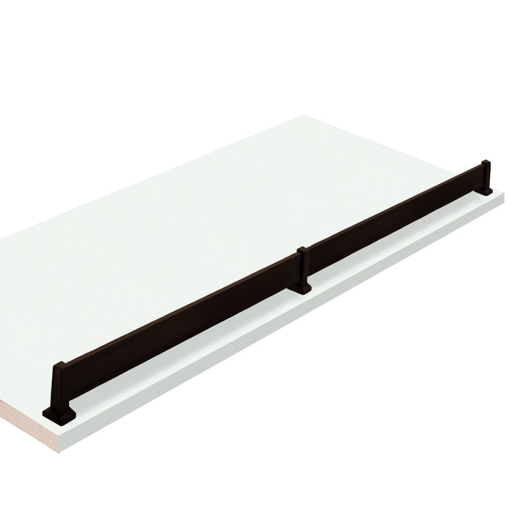 20'' W x 21'' L, White Closet Shelves with Dark oil-rubbed bronze shoe fence and PVC Edge Banding in front - CHOOSE YOUR SIZE - 2 Pack