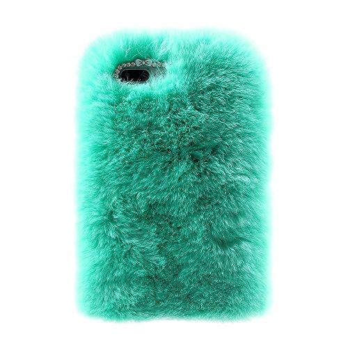 Rabbit Fur Diamond Plastic + TPU Tasche Hüllen Schutzhülle - Cover Case für iPhone 7 Plus 5.5 Inch - Cyan