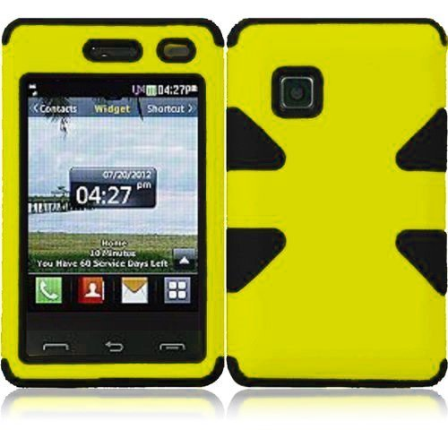 Importer520 Dynamic Hybrid Tuff Hard Case Snap On Phone Silicone Cover Case For LG 840G LG840G TracFone, StraightTalk, Net (Yellow/ Black)