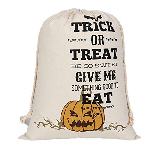 Candy Bag Trick or Treat, Keepfit Halloween Bundle Pocket Drawstring Storage Bag Satchel Rucksack (Pumpkin Angry)