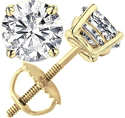 2.0 ct Round Brilliant Cut Simulated Diamond CZ Solitaire Stud Earrings in 14k Yellow Gold Screw Back ()