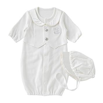 c0d2e9054c7c2 (チャックル) chuckle   ピュアホワイト   帽子付き 見せかけベスト 新生児 ツーウェイオール ホワイト