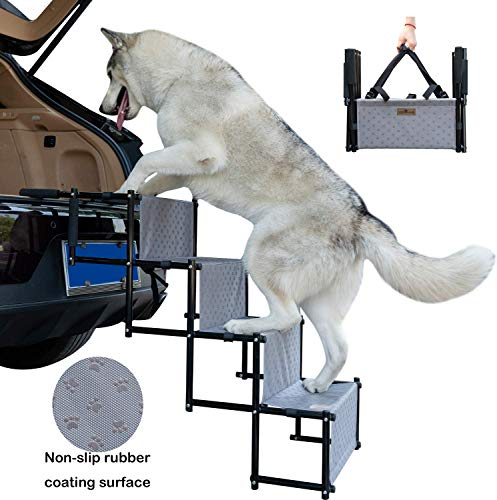 YEPHHO Upgraded Pet Dog Car Step Stairs,Metal Frame Folding Dogs Ramp for Medium and Large Dogs,Lightweight Portable Auto Dog Ladder with Waterproof Surface, Great for Cars, Trucks and SUVs