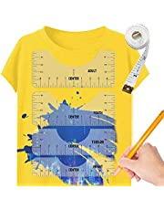 6 Pcs T Shirt Ruler Guide for Vinyl T Shirt Alignment Tool to Center Designs for Adult Youth Toddler Infant (Transparent)