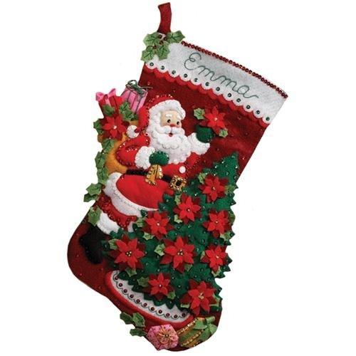 Bucilla 18-Inch Christmas Stocking Felt Applique Kit, 86142 Santa Poinsettia Tree product image