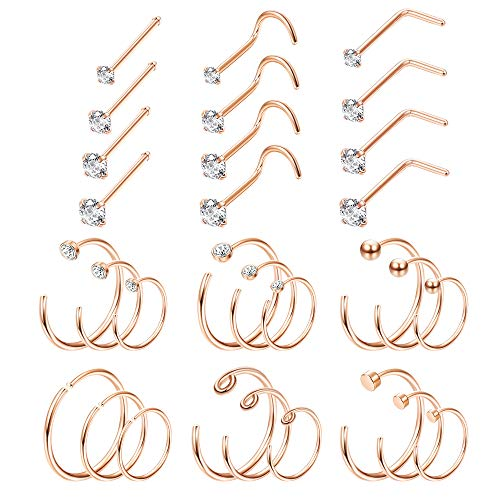 Thunaraz 20G Stainless Steel Hoop Nose Rings Stud Rings CZ Inlaid Piercing Jewelry 30PCS (Rose Gold Tone)