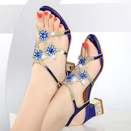 Sandalias Verano Rough Zapatos Cristal Agua Diamante 5 Tacones De De HBDLH Mujer De Alto blue Cm Taladro Tacón De RqxdwtxC