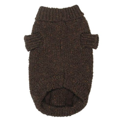 Zack and Zoey Marled Yarn Basic Knit Dog Sweater, XX-Small, Brown, My Pet Supplies