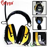 Olyga Digital Electronic Ear Defenders, Ear Protectors, Ear Muffs with FM and AM Radio MP3 Compatible Noise Reduction Sound Level Reduction 25 dB for Protection Ear Defenders for Working Mowing