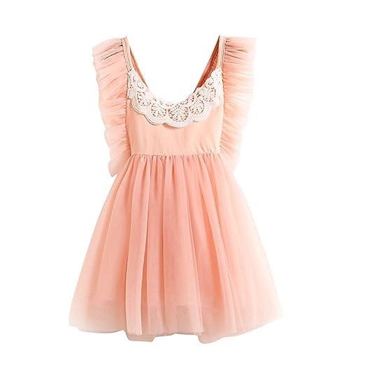 465dd048fcc0 Amazon.com  FUNOC Girls Princess Tutu Tulle Sundress Clothes Summer  Sleeveless Lace Costume Backless Dresses  Clothing