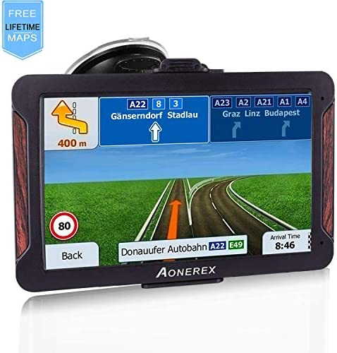 GPS Navigation for Car, Aonerex 7 inch 8GB 256MB GPS Navigation System,Spoken Turn- to-Turn Traffic Alert Vehicle Car GPS Navigator,Lifetime Free Map Updates