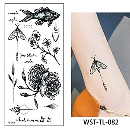 yyyDL etiqueta engomada del tatuaje temporal del arte 36D Joyería ...