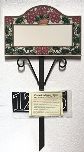 Ceramic Address Plaque (Rose Floral) (Ceramic Address Plaque)
