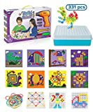 Pegcasso 331 pc Build & Drill educational construction and STEM preschool engineering peg board toy with BONUS Geoboard / Rubber bands, 8 unique fun animal designs. Best gift for boys and girls!