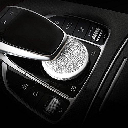 YIKA Benz Auto Center Console Multimedia Knob adjust Crystal Diamond Decoration cover For Mercedes-Benz New C Class / GLC Class / new E Class