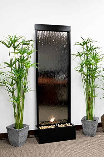 - Alpine Mirror Waterfall with Decorative Stones and Light, Silver