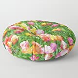 Stuffed Floor Pouf | Lounging Pillow | Floor Pillow | Large Pillow | Decorative Pillow | Romantic Floral | Round Pillow Soft Floor Seating | Tulip Print