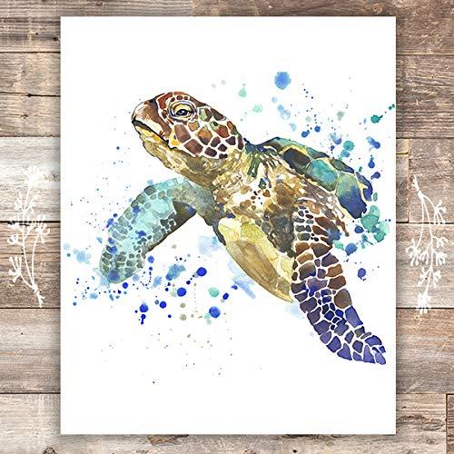 Sea Turtle Wall Art Print - Unframed - 8x10 | Beach Wall Decor (Hawaii Turtle Decor Sea)