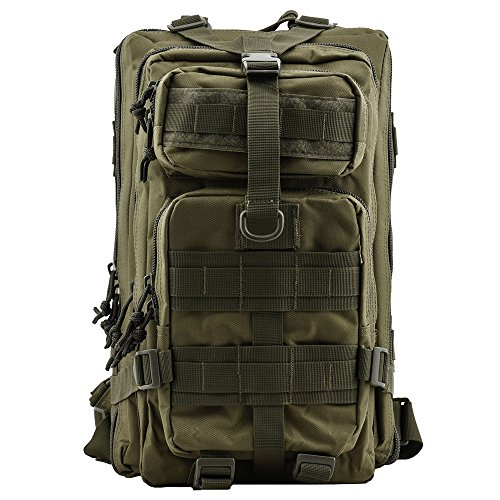 Military Tactical Backpack, TOPQSC Waterproof 600D fabric Outdoor Tactical Bag Shoulder Expandable Hunting Tactical Daypack Sport Casual Backpack for Camping Trekking Travel Hunting 30L Small Green