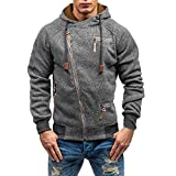 Hot Sale !Charberry Mens Casual Zipper Long Sleeve Top Autumn Hooded Sweatshirt Outwear Blouse (US-S/CN-M, Dark Gray)