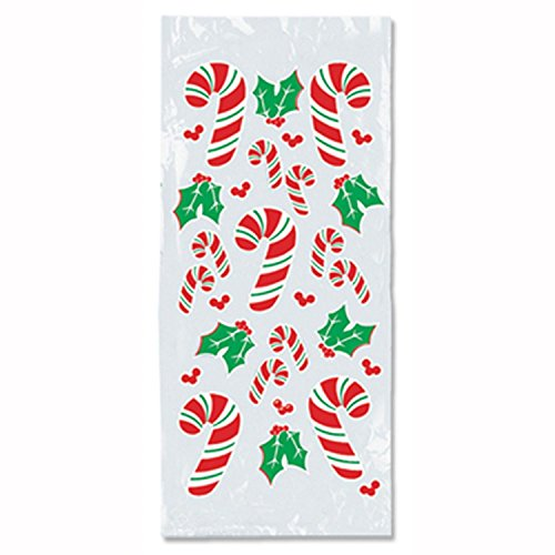 Club Pack of 300 Christmas Candy Cane and Holly Cello Bags 4