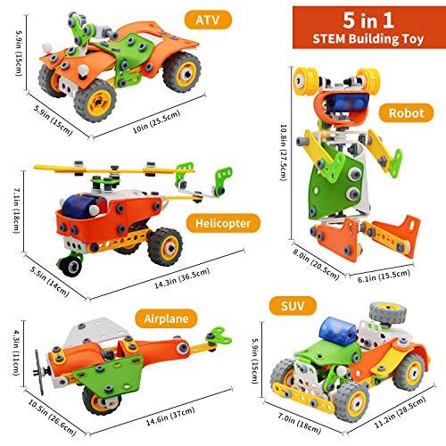 Nobranded STEM Learning Toys 5 in 1 Erector Set DIY Educational Construction Engineering Building Blocks Toys Kits for Kids Ages 6-12 for Boys & Girls Gift