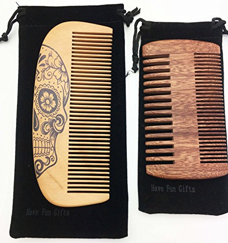 Handmade and Premium Bidirectional Wooden Beard Brush Comb- Best Quality Pocket Size – For Uniform Beard and Mustache Growth and Eliminates Tangles, Frizz and Static, Design with Sugar Skull