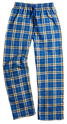 Boxercraft Men's Elastic Waist Flannel Pants, Royal Blue/gold, Medium ()