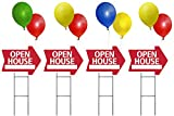 OPEN HOUSE Sign Kit with Balloons - Arrow Shape Corrugated Sign INCLUDES 4 24'' Sign Stakes, 4 OPEN HOUSE Signs, 8 Balloonies, and 16 Balloons (Red)