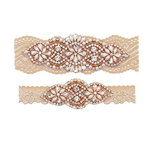 yanstar Wedding Bridal Garter Belt Champange Stretch Lace Bridal Garter Sets with Rose Gold Rhinestones Clear Crystal Pearl for Wedding ()