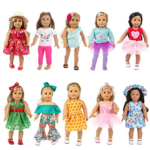HOAYO 21 Items Doll Clothes Gift for 18-Inch American Girl Dolls, 10 Sets Girl Doll Clothes and Accessories for 18-inch Dolls