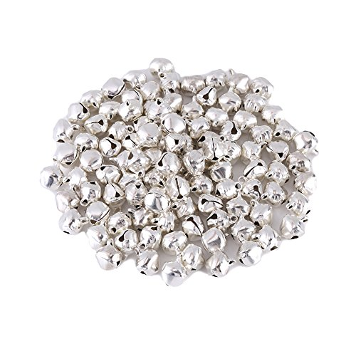 100pcs 10mm Gold/Silver/Colorful Tiny Christmas Jingle Bells Metal Loose Bell Beads for Christmas Pendant Decoration and DIY Handcraft Christmas Ornaments Accessories Necklace Bracelet (10MM Sliver)