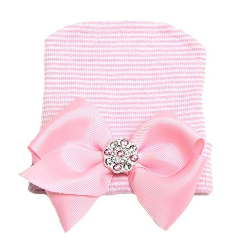 WILLTOO Newborn Lovely Soft Cute Hat Bow Baby Girl Hospital Beanie Hat (F)