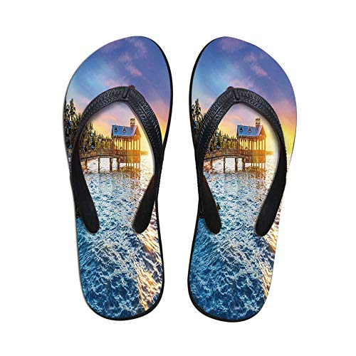 (United States Comfortable Flip Flops,Pier at Beach in Key West Florida USA Tropical Summer Paradise for Pool Garden,US Size 10)